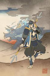 Ukiyo-e Blue Ranger - MMPR Comic Variant Cover by swadeart