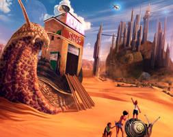 Snail Town on Mars by Cota-Art