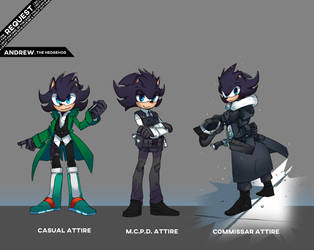 Andrew The Hedgehog Alternate outfits. by TheDarkShadow1990