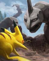 Pikachu vs Onix by mcgmark