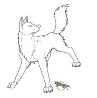 Free Wolf Lineart by FlareAndIcicle
