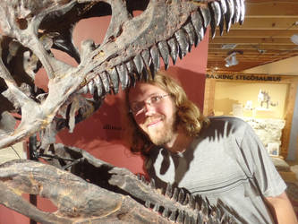 Allosaur skull and me by Scholarly-Cimmerian