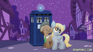 Derpy And Doctor Whooves Drawponies Background by artwork-tee