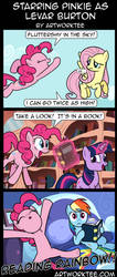 Comic: Starring Pinkie as Levar Burton by artwork-tee