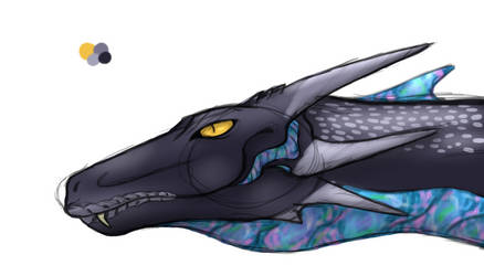 Bluethroat Head by InklessDragon