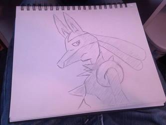 Lucario Sketch by Morestal