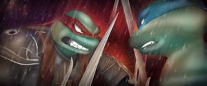 Leo vs Raph aka The Nightwatcher by LilithFullMoon
