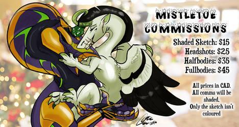 Mistletoe Kiss Commissions: OPEN by PteraDragon