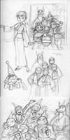 TMNT 2012-Happy New Year sketches by queenbean3