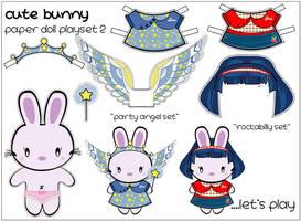 cute bunny paper doll 2 by chickiecherry