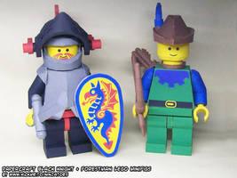 Papercraft LEGO Black Knight + Forestman minifigs by ninjatoespapercraft