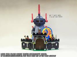 Giant papercraft LEGO Black Knight minifig backup by ninjatoespapercraft