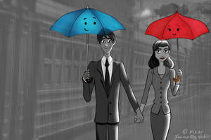 Papermanx The Blue Umbrella by aikolux