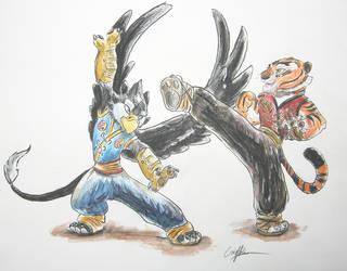 Master Tigress Master Gryphon by SilverFlight