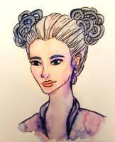 Watercolor girl by mliddam
