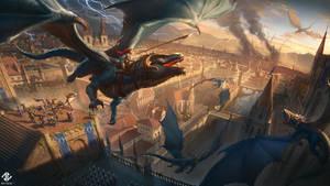 Dragon Rider Battle by DeivCalviz