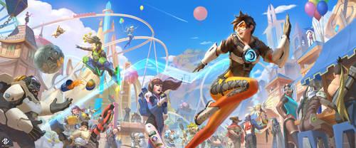 Overwatch Fan Art - Blizzard World by DeivCalviz