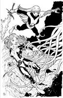 Magik and Kitty BW by Dogsupreme