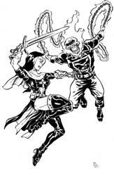 Warrior Nun vs Ghost Rider by Dogsupreme