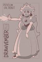 Drawvember Day 2 Peach + Evil Robot by AtomicTiki
