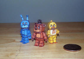 Tiny Trio of Terror! FNaF Mirco chibi papercraft by Arc-Caster135