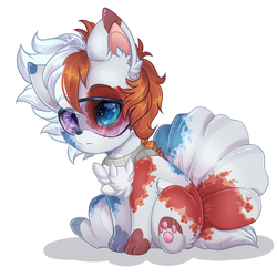 Todoroki Inspired Vulpix by Silent-Shadow-Wolf