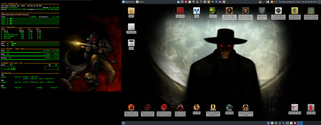 October 2018 Desktop - Arch Linux and Xfce by hamishpaulwilson