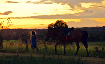 a girl and her horse by LyraWhite