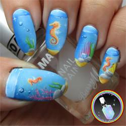 Freehand Seahorse Nail Art by Ithfifi