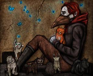 The thunderbird and stray cats by SeaCat2401