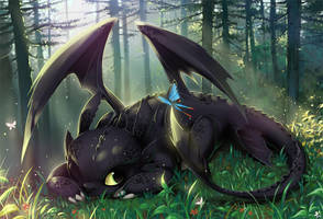 Toothless nap by CosmicSpectrumm