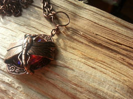 Sideways Wrapped Dragonfly Dragon's Breath by artistiquejewelry