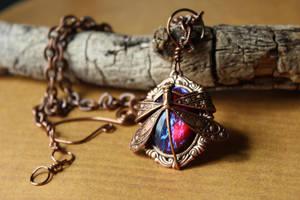 Open Flight Dragonfly Opal Necklace by artistiquejewelry