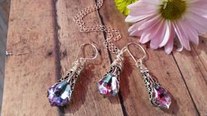 Lilac Baroque Swarovski in Heirloom filigree Set by artistiquejewelry