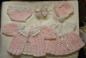 Pink Baby Layette by Crochet-by-Clarissa
