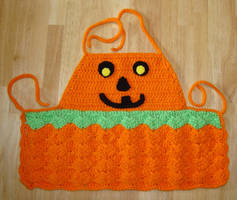 Jack-o-lantern apron by Crochet-by-Clarissa