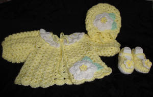 Lemon Drop Sweater, Hat and Booties by Crochet-by-Clarissa