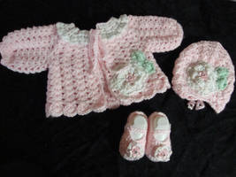Pink Posey Sweater, Hat and Booties by Crochet-by-Clarissa