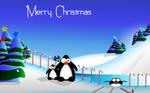 Penguins Christmas Fun WIDE by DigitalPhenom
