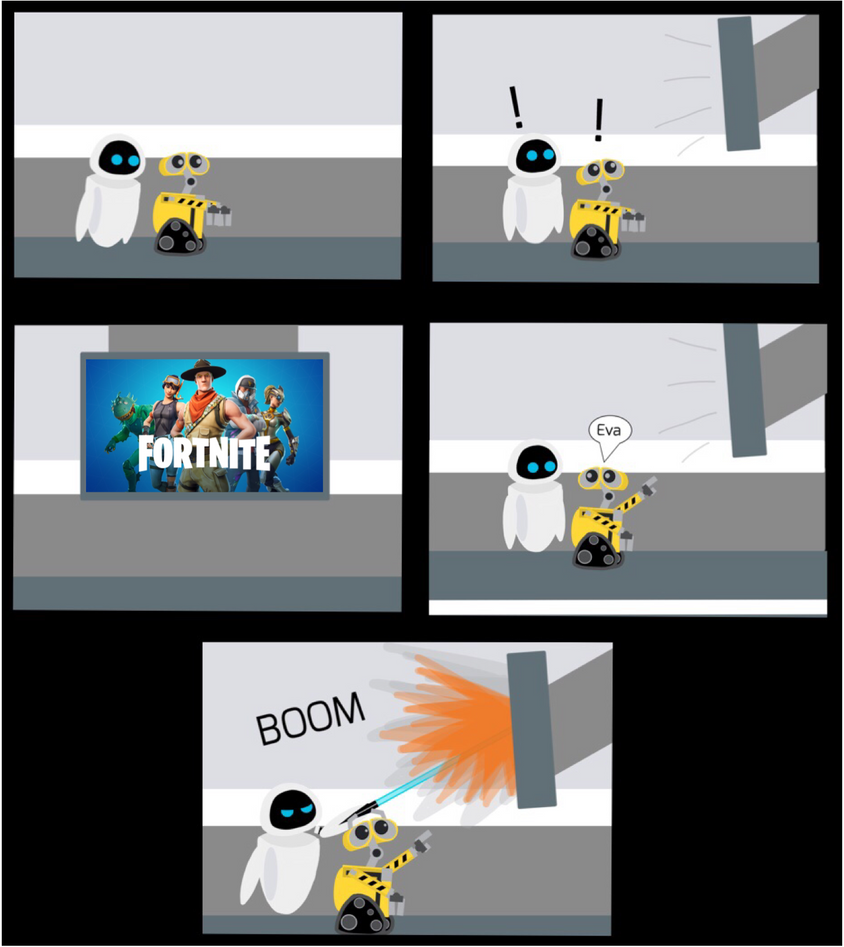 Wall-e And Eve Reacts To Fortnite by jfpfart