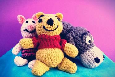 Winnie the Pooh Crochet Dolls by ami-nomiko