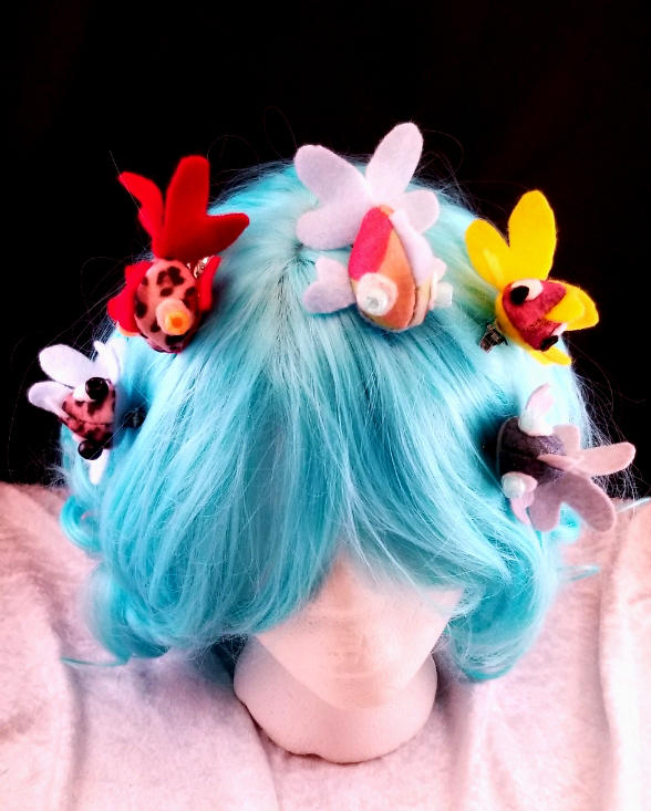 Plush Goldfish Hairclips by ami-nomiko