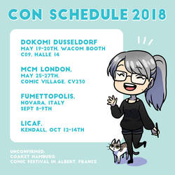 Miki's Con Schedule 2018 by Zombiesmile