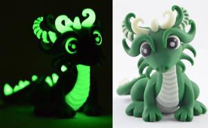 dark green glow in dark dragon by claymeeples