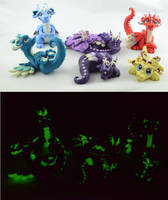 glow in dark dragon family by claymeeples