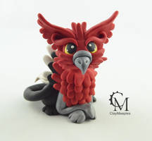 Red Griffin figurine by claymeeples