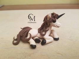 chocolate unicorn figurine by claymeeples