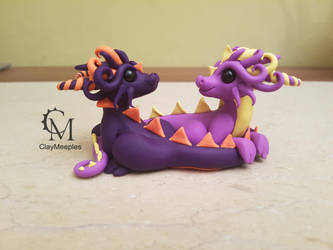 dragon couple - violet by claymeeples