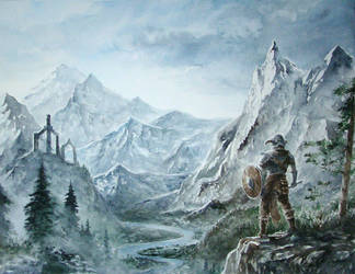 Skyrim Watercolour Commission by Entar0178