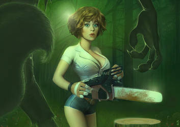 The girl, the chainsaw ... by PapaNinja